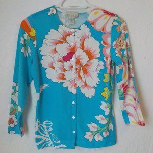 Vintage 90s Floral Light Cardigan M Blue Button Up